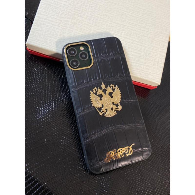 Противоударный чёрный кожаный чехол из крокодила с гербом России Mobcase 1441