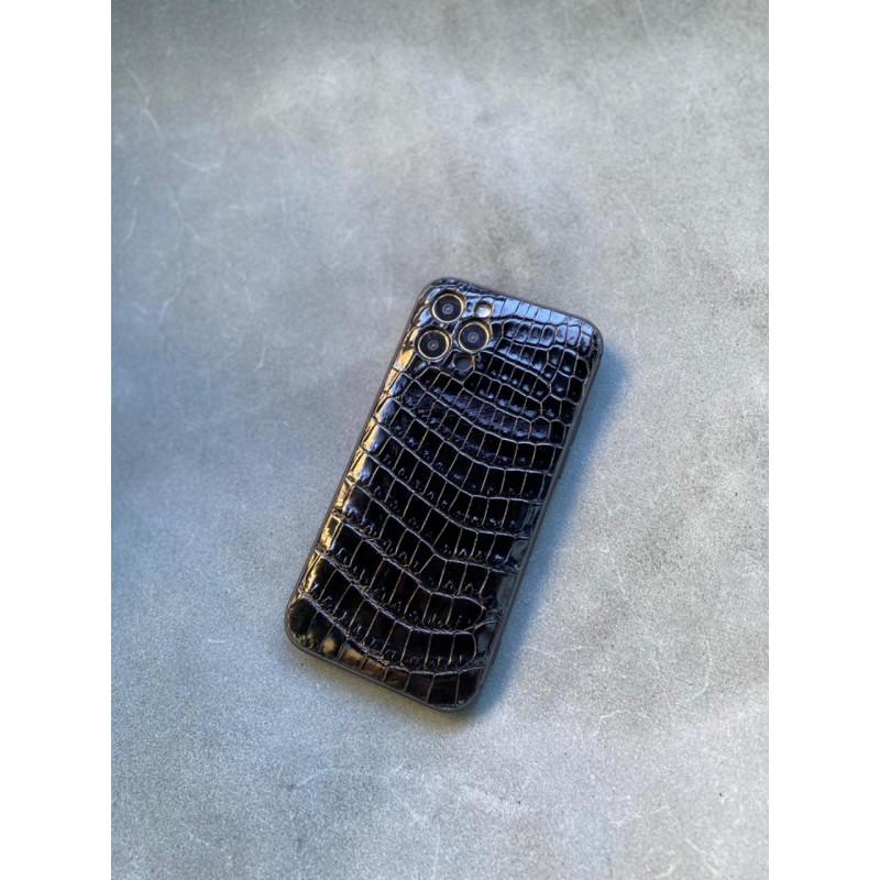 Противоударный чёрный кожаный чехол из крокодила Mobcase 1442