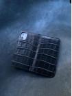Чёрный кожаный чехол книжка ручной работы Mobcase 1446
