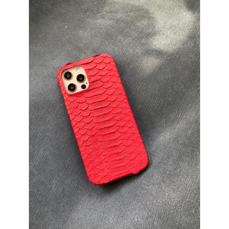 Красный кожаный чехол ручной работы из питона Mobcase 1453