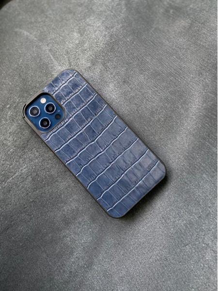 Тёмно синий противоударный кожаный чехол ручной работы Mobcase 1454