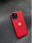 Красный кожаный чехол ручной работы с логотипом Apple Mobcase 1458