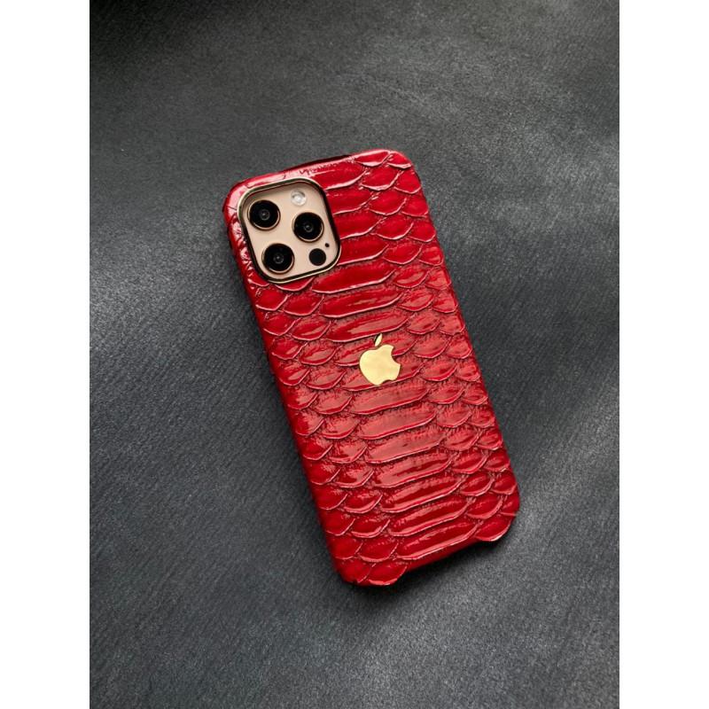 Ярко-красный чехол из питона ручной работы с логотипом Apple Mobcase 1459