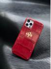 Красный чехол из кожи крокодила с логотипом из золота Mobcase 1460