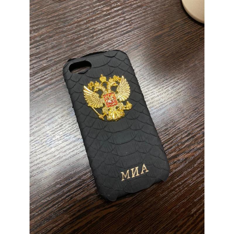 Чёрный кожаный чехол с гербом России инициалами Mobcase 1465