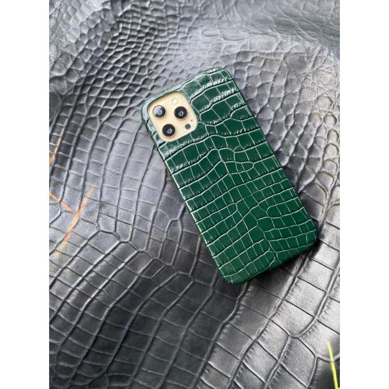Зелёный кожаный чехол ручной работы с выделкой под крокодила Mobcase 1478