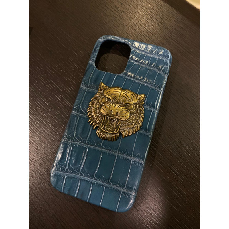 Голубой кожаный чехол из крокодила с головой тигра Mobcase 1480
