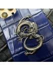 Синий кожаный чехол с серебряным Драконом Mobcase 1481