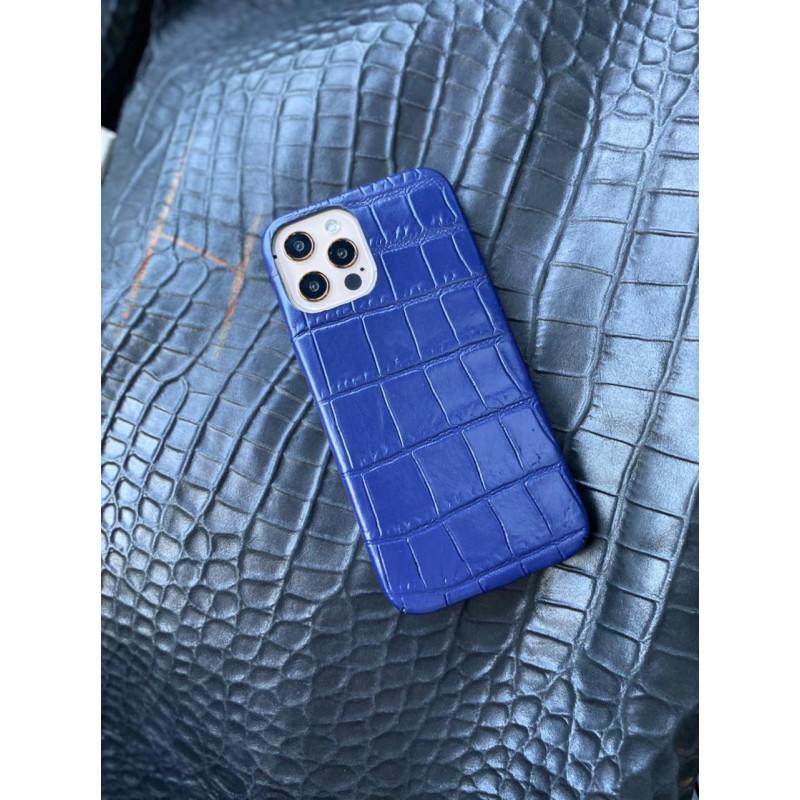 Синий кожаный чехол ручной работы Mobcase 1486 для iPhone 12 Pro Max