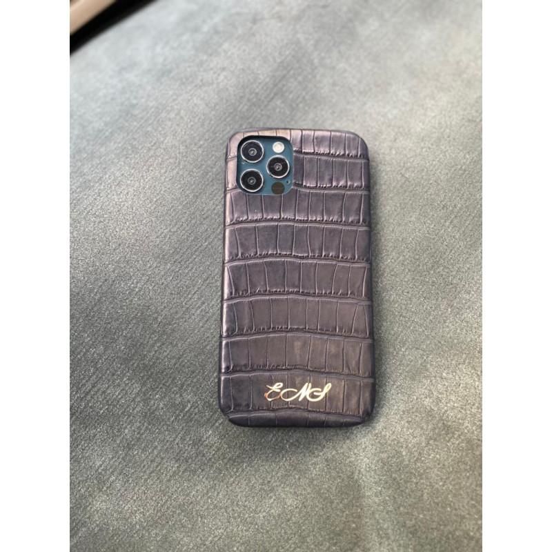 Дорогой фиолетовый чехол ручной работы из кожи крокодила с инициалами Mobcase 1489 для iPhone 12 Pro Max