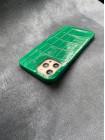 Зелёный кожаный чехол ручной работы из крокодила Mobcase 1492 для iPhone 12 Pro