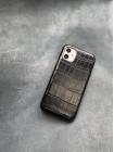 Чёрный кожаный чехол ручной работы из крокодила Mobcase 1493 для iPhone 11