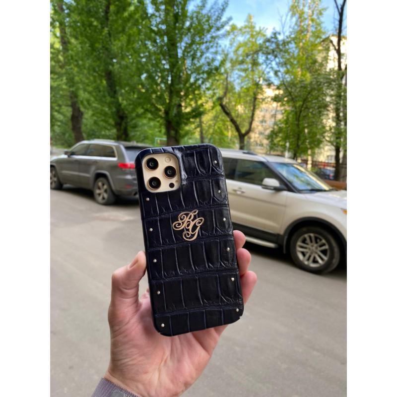 Тёмно-синий чехол ручной работы из крокодила с инициалами Mobcase 1494 для iPhone 12 Pro Max