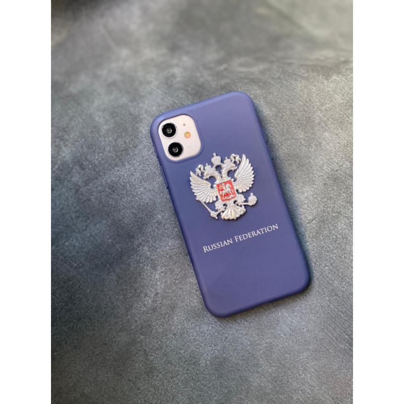 Силиконовый синий чехол с гербом России Mobcase 1495 для iPhone 11