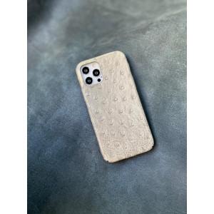 Белый кожаный чехол ручной работы с выделкой под страуса Mobcase 1496 для iPhone 12 Pro