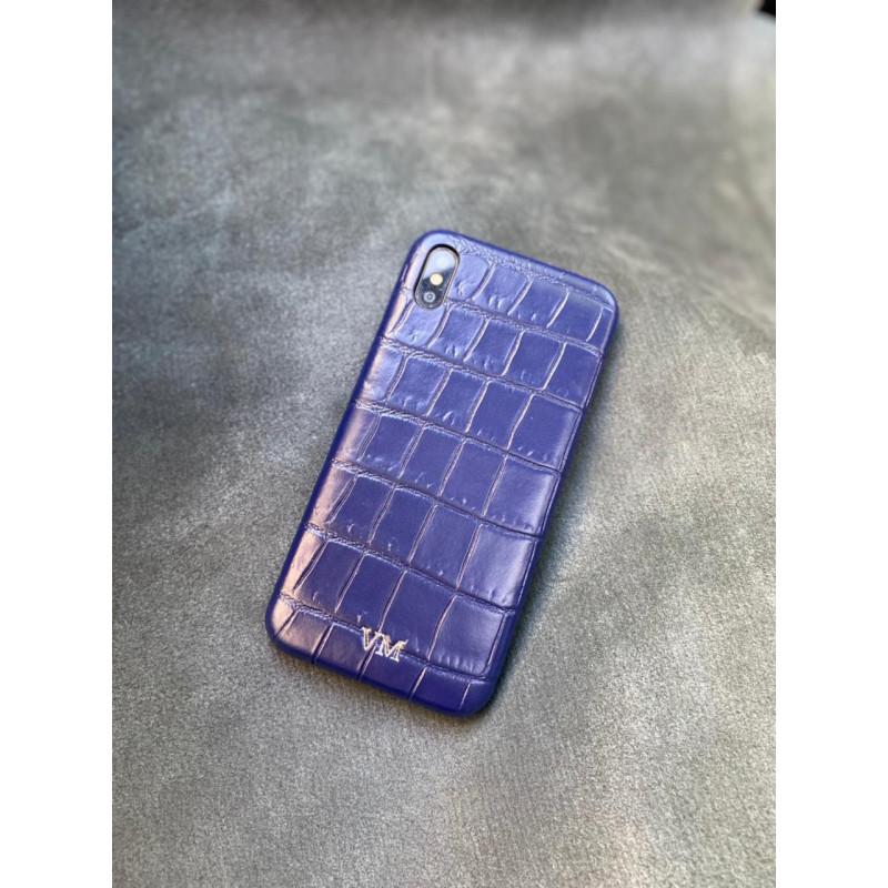 Синий кожаный чехол ручной работы с инициалами Mobcase 1497 для iPhone XS