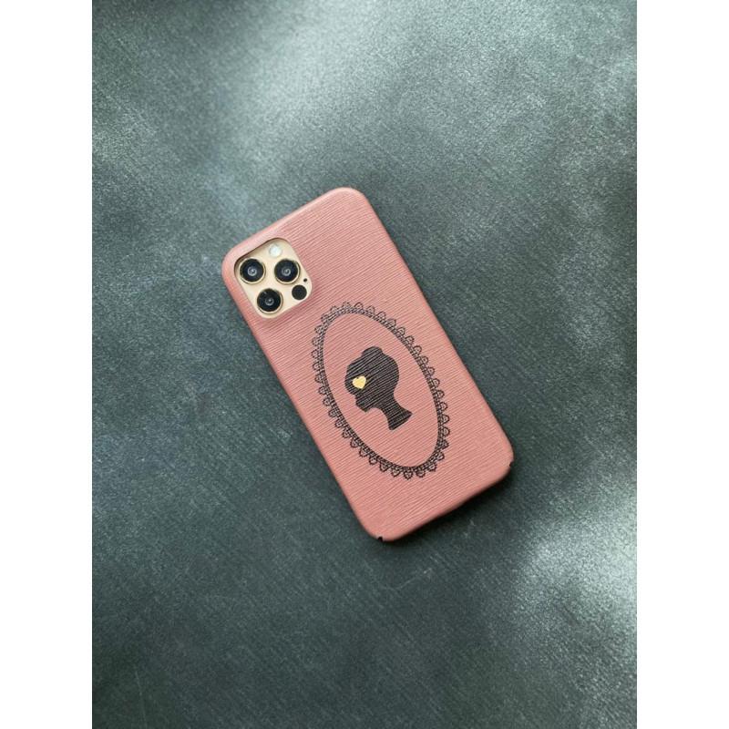 Розовый кожаный чехол ручной работы с принтом Mobcase 1498 для iPhone 12 Pro