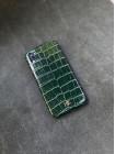Зелёный кожаный чехол ручной работы с инициалами Mobcase 1501 для iPhone XR