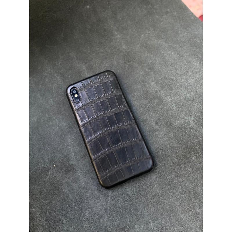 Чёрный кожаный чехол ручной работы из крокодила Mobcase 1502 для iPhone XS