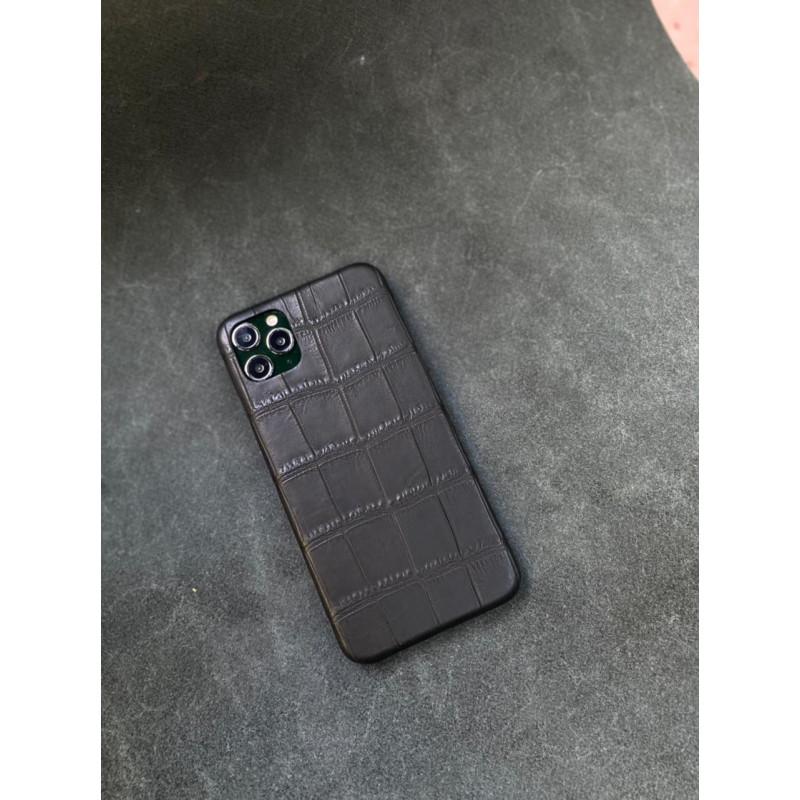 Чёрный кожаный чехол ручной работы из крокодила Mobcase 1503 для iPhone 12 Pro Max