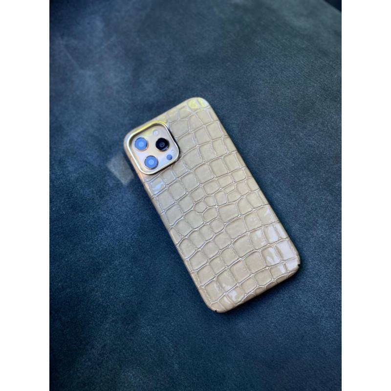 Белый кожаный чехол из кожи крокодила Mobcase 1507 для iPhone 12 Pro Max