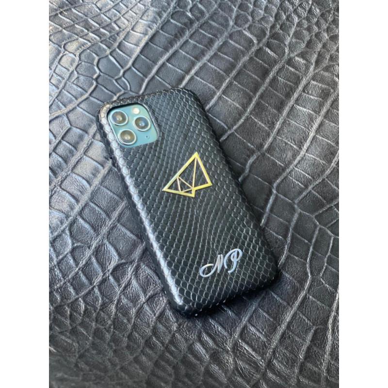 Чёрный кожаный чехол ручной работы с логотипом, инициалами Mobcase 1512 для iPhone 11 Pro