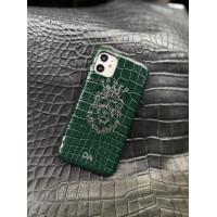 Зелёный кожаный чехол с инициалами и головой Льва Mobcase 1519 для iPhone 11