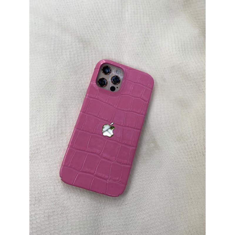 Розовый эксклюзивный кожаный чехол с логотипом Apple Mobcase 1522 для iPhone 12 Pro
