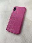 Розовый эксклюзивный кожаный чехол с инициалами Mobcase 1523 для iPhone XS