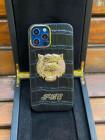 Дорогой кожаный чёрный чехол с головой Льва Mobcase 1526 для iPhone 12 Pro Max