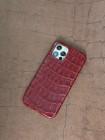 Красный кожаный чехол из крокодила Mobcase 1527 для iPhone 12 Pro