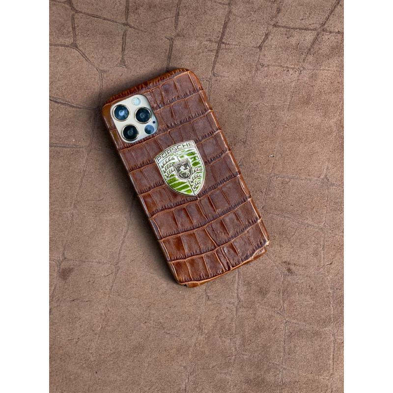 Коричневый кожаный чехол с логотипом Porsche Mobcase 1529 для iPhone 12 Pro