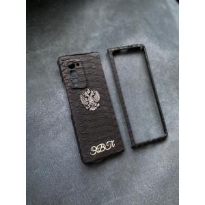 Чёрный кожаный чехол с гербом России инициалами Mobcase 1530 для Samsung Galaxy Z Fold 3 5G