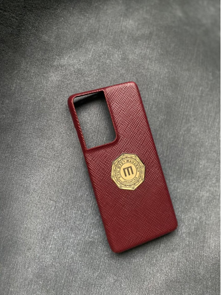 Красный кожаный чехол с бронзовым логотипом Mobcase 1532 для Samsung Galaxy S21 Ultra