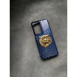 Синий кожаный чехол с золотой головой Льва Mobcase 1533 для Samsung Galaxy S21 Ultra