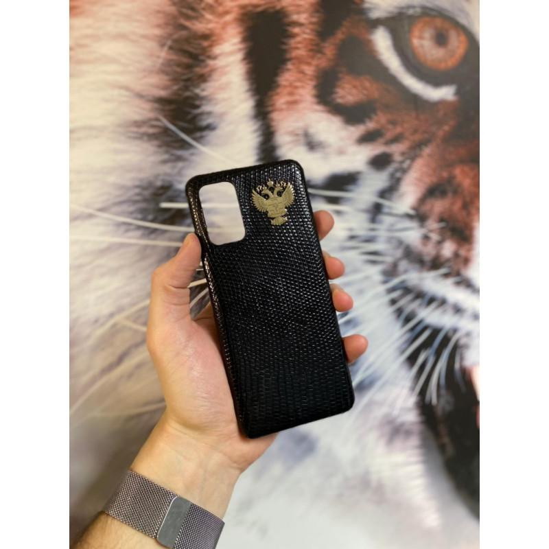 Чёрный кожаный чехол с гербом здравоохранения РФ Mobcase 1534 для Samsung Galaxy S20 Plus