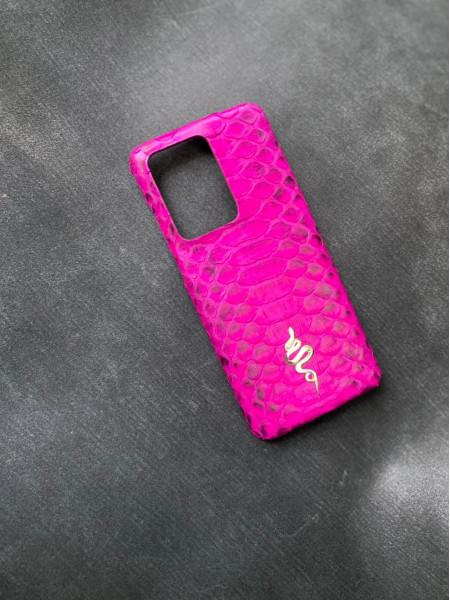 Розовый кожаный чехол с логотипом змеи Mobcase 1536 для Samsung Galaxy S21 Ultra