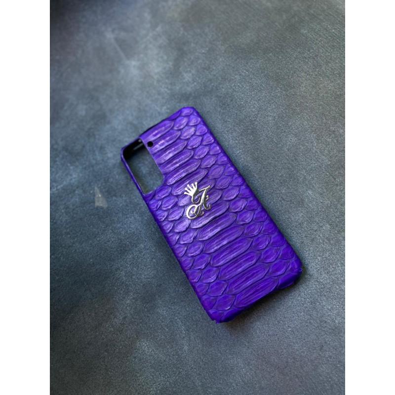 Тёмно-синий кожаный чехол из питона Mobcase 1541 для Samsung Galaxy S21