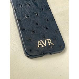 Тёмно-синий кожаный чехол из страуса с инициалами из серебра Mobcase 1545 для iPhone 12 Pro Max
