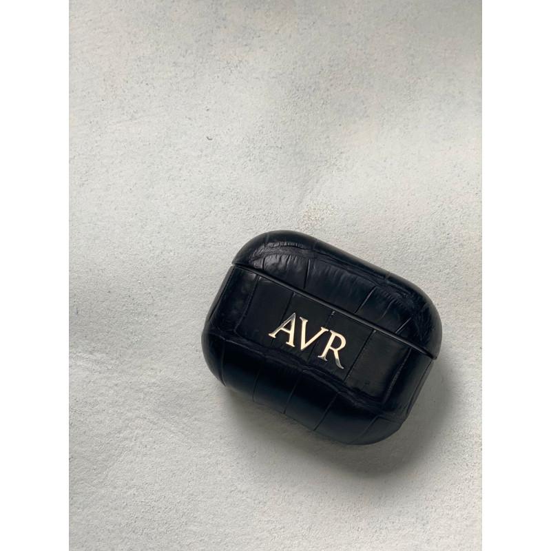 Чёрный кожаный чехол из крокодила с инициалами Mobcase 1546 для Apple AirPods Pro