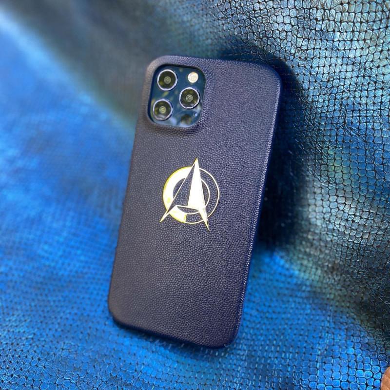 Синий кожаный чехол с логотипом из серебра Mobcase 1549 для iPhone 12 Pro