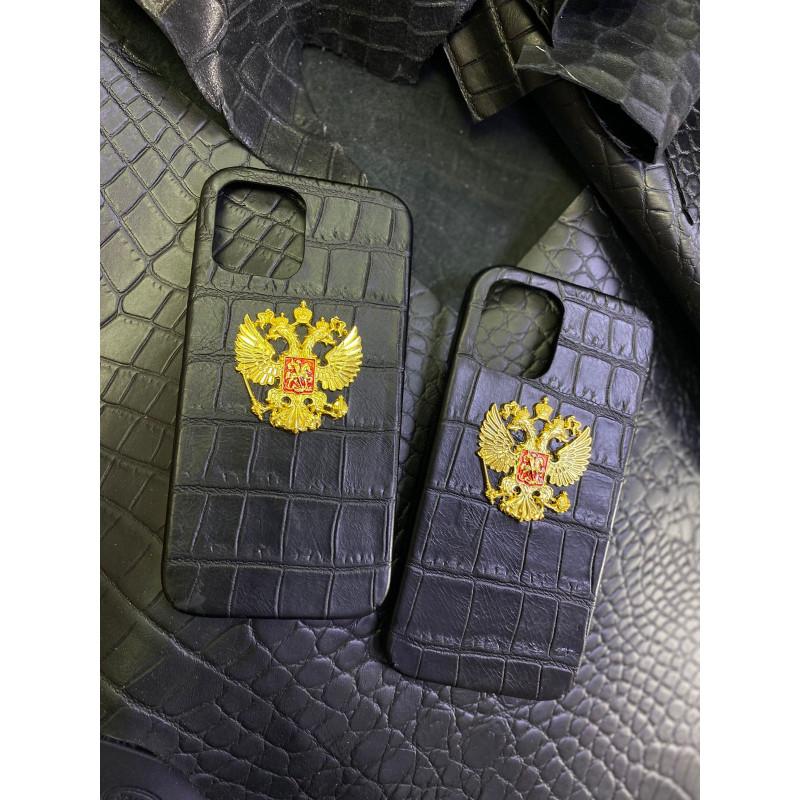 Чёрный кожаный чехол с гербом России Mobcase 1552 для iPhone 12 Pro Max