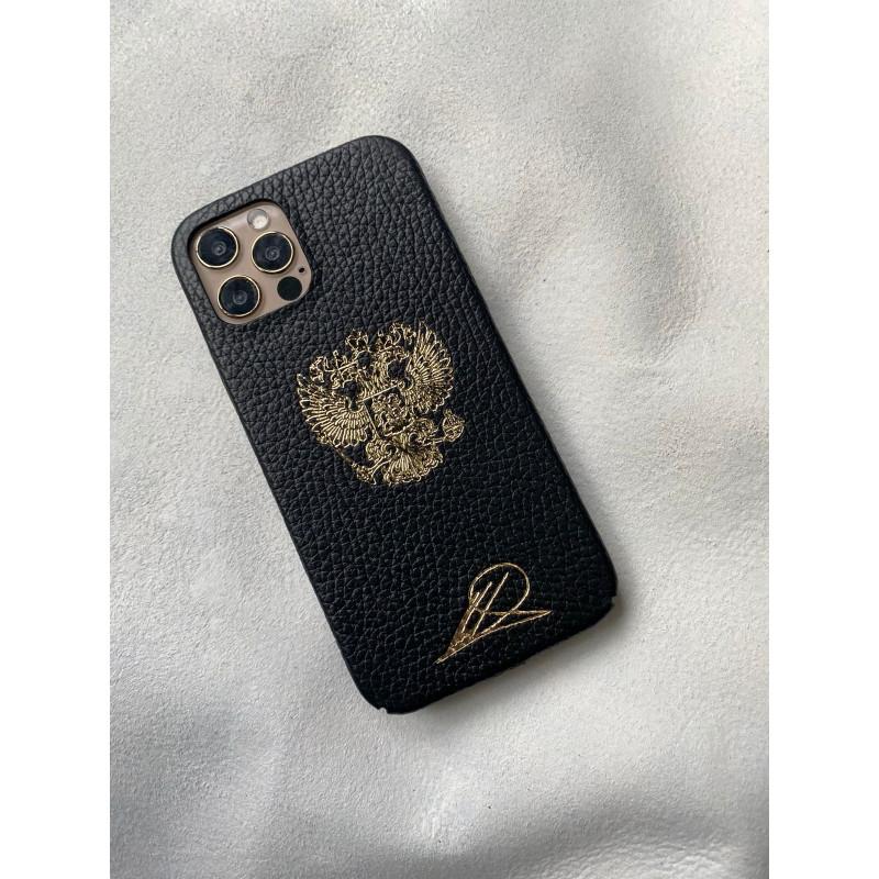 Чёрный кожаный чехол с гербом России Mobcase 1553 для iPhone 12 Pro