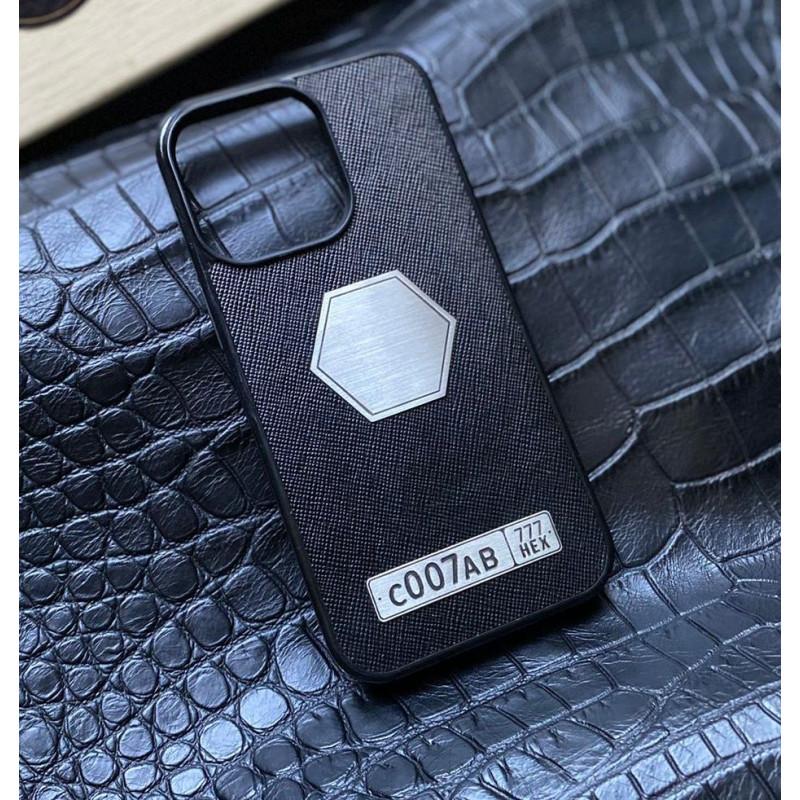 Чёрный кожаный чехол с логотипом Mobcase 1555 для iPhone 13 Pro Max