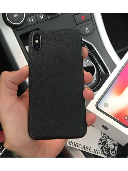 Моддинг iPhone из чёрной телячьей кожи с выделкой Caviar, Mobcase 812 для iPhone