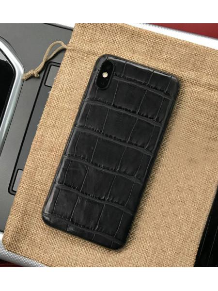 Моддинг iPhone XS из кожи крокодила чёрного цвета, Mobcase 905