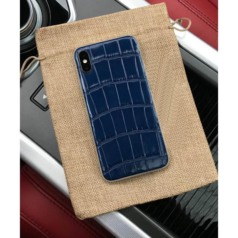 Моддинг iPhone XS из кожи крокодила синего цвета, Mobcase 904