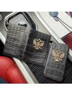 Подарочный комплект: Кожаный чехол и обложка на паспорт с гербом России из натуральной, телячьей кожи, Mobcase 924
