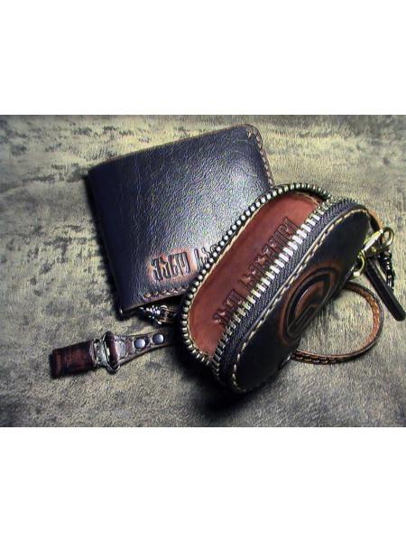 Портмоне мужское, именное, кожаное и ключница ручной работы Mobcase 757