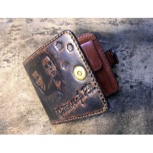 Портмоне мужское, именное, кожаное, ручной работы в стиле мафия бессмертна Mobcase 755